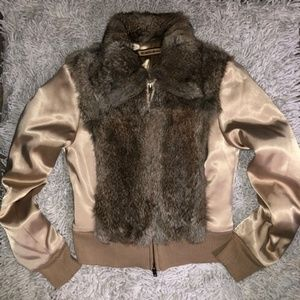 Bebe 100% Rabbit Fur Cropped Jacket